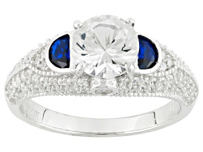 Pre-Owned Blue And White Cubic Zirconia Rhodium Over Silver Ring 3.46ctw