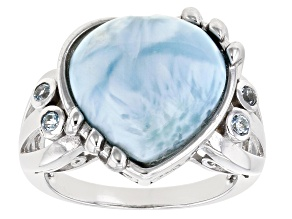 Pre-Owned Blue Larimar Rhodium Over Sterling Silver Heart Ring 0.15ctw