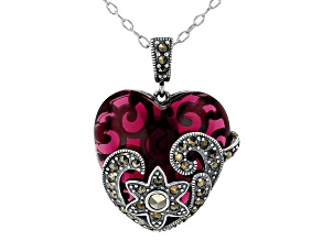 Pre-Owned Imitation Red Simulant With Marcasite Sterling Silver Over Bronze Pendant With Chain