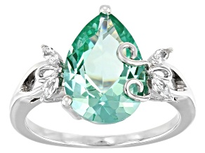 Pre-Owned Green Lab Created Spinel Rhodium Over Sterling Silver Ring 3.88ctw