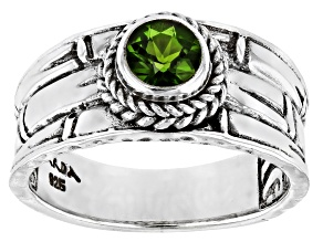 Pre-Owned Green Chrome Diopside Sterling Silver Solitaire Ring .44ct