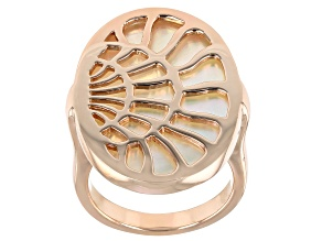 Pre-Owned White South Sea Mother-of-Pearl 18k Rose Gold Over Sterling Silver Ring