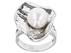 Pre-Owned White Cultured Freshwater Pearl Sterling Silver Ring