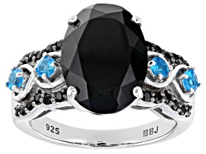 Pre-Owned Black Spinel Rhodium Over Sterling Silver Ring 6.17ctw