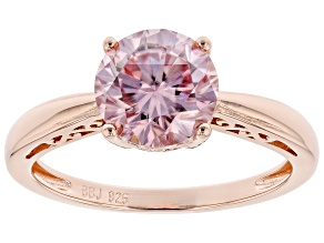 Pre-Owned Pink moissanite 14k rose gold over silver solitaire  ring 1.90ct DEW