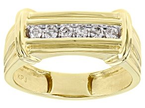 Pre-Owned White Diamond 10K Yellow Gold Mens Band Ring 0.25ctw