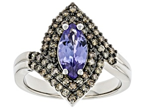 Pre-Owned Blue Tanzanite Rhodium Over Sterling Silver Ring 1.32ctw
