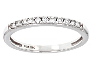 Pre-Owned Moissanite 10K white gold band ring .22ctw DEW