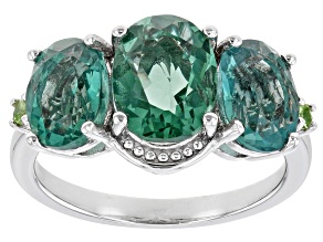Pre-Owned Green Fluorite Rhodium Over Sterling Silver Ring 4.89ctw