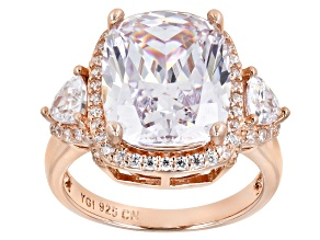 Pre-Owned White Cubic Zirconia 18K Rose Gold Over Sterling Silver Ring 12.95ctw