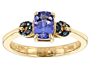 Pre-Owned Blue Tanzanite 18K Yellow Gold Over Sterling Silver Ring .81ctw