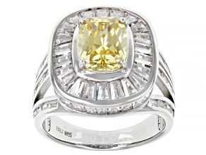 Pre-Owned Yellow And White Cubic Zirconia Rhodium Over Sterling Silver Ring 7.92ctw