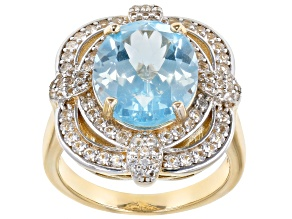 Pre-Owned Sky Blue Topaz 18k Yellow Gold Over Sterling Silver Ring 5.49ctw