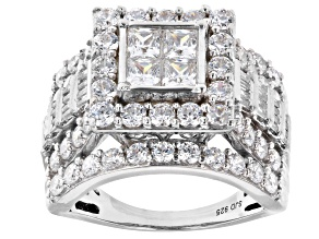 Pre-Owned White Cubic Zirconia Rhodium Over Sterling Silver Ring 5.33ctw