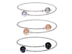 Pre-Owned Cultured Freshwater Pearl Stainless Steel And Rhodium Over Silver Bracelet