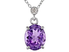 Pre-Owned Amethyst Rhodium Over Sterling Silver Pendant With Chain 2.71ctw