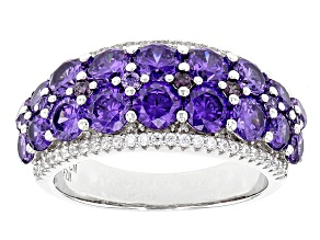 Pre-Owned Purple And White Cubic Zirconia Rhodium Over Sterling Silver Ring 6.09ctw