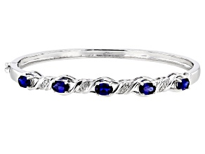 Pre-Owned Lab Created Blue Sapphire Rhodium Over Sterling Silver Bracelet 2.81ctw