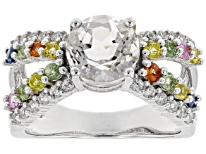Pre-Owned White Crystal Quartz Rhodium Over Silver Ring 2.43ctw
