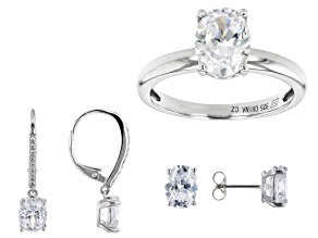 Pre-Owned Cubic Zirconia Platinum Over Sterling Silver Ring And 2 Earrings Set
