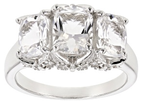 Pre-Owned White crystal quartz rhodium over sterling silver ring 2.40ctw
