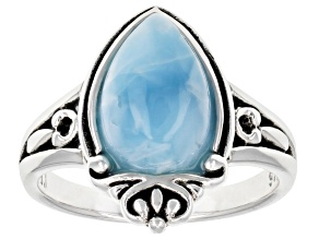 Pre-Owned Blue Larimar Solitaire Rhodium Over Sterling Silver Ring
