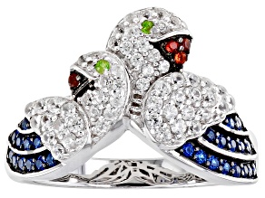 Pre-Owned White Zircon Rhodium Over Sterling Silver Parrot Ring .70ctw
