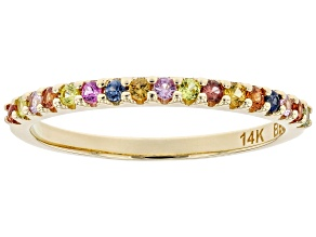 Pre-Owned Multi-Sapphire 14K Yellow Gold Band Ring .26ctw