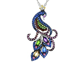 Pre-Owned Multi-Gemstone Rhodium Over Sterling Silver Peacock Pendant With Chain 2.51ctw