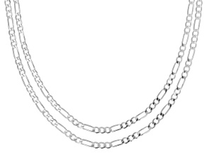 Pre-Owned Sterling Silver Set of Two 3MM Figaro Chains