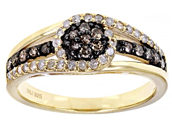 Picture of Pre-Owned Champagne And White Diamond 14k Yellow Gold Over Sterling Silver Cluster Ring 0.45ctw