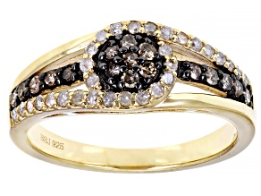 Pre-Owned Champagne And White Diamond 14k Yellow Gold Over Sterling Silver Cluster Ring 0.45ctw