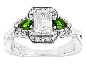 Pre-Owned Fabulite strontium titanate and chrome diopside with white zircon rhodium over silver ring