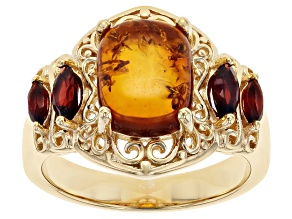 Pre-Owned Orange Amber 18K Yellow Gold Over Silver Ring 0.55ctw.