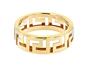 Pre-Owned 10K Yellow Gold 6.6MM Greek Key Band Ring