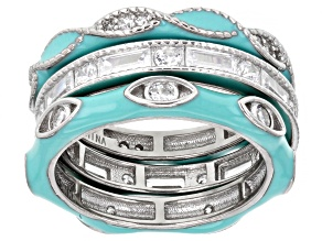 Pre-Owned Blue Enamel And White Cubic Zirconia Rhodium Over Sterling Silver Ring Set Of 3 2.70ctw