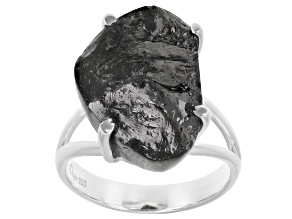 Pre-Owned Rough Shungite Sterling Silver Ring