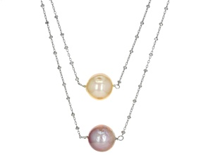 Pre-Owned Genusis™ 10-13mm Peach & Lavender Cultured Freshwater Pearl Rhodium Over Silver 18 inch Ne