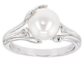 Pre-Owned White Cultured Freshwater Pearl & White Zircon Rhodium Over Sterling Silver Ring
