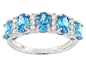 Pre-Owned Blue And White Cubic Zirconia Rhodium Over Sterling Silver Ring 2.95ctw