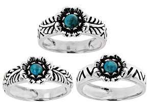 Pre-Owned Blue Turquoise Rhodium Over Silver Set of 3 Floral Rings
