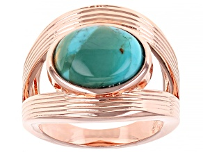 Pre-Owned Turquoise Copper Open Design Ring