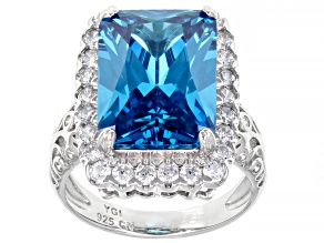Pre-Owned Blue And White Cubic Zirconia Rhodium Over Sterling Silver Ring 12.90ctw