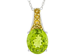 Pre-Owned Green peridot silver pendant with chain 4.51ctw