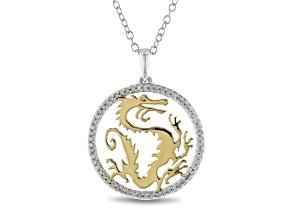 Pre-Owned Enchanted Disney Mulan Dragon Pendant White Diamond Rhodium And 14k Yellow Gold Over Silve