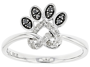 Pre-Owned Black And White Diamond Rhodium Over Sterling Silver Love Knot Paw Ring 0.20ctw