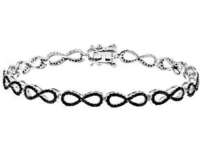 Pre-Owned Black Spinel Rhodium Over Sterling Silver Bracelet. 1.95ctw