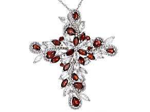 Pre-Owned Red Garnet Rhodium Over Sterling Silver Pendant With Chain 10.60ctw