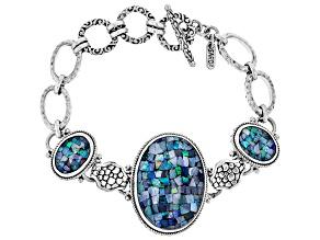 Pre-Owned Mosaic Australian Opal Doublet Silver Bracelet