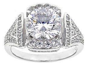 Pre-Owned Cubic Zirconia Rhodium Over Sterling Silver Ring 6.10ctw (3.65ctw DEW)